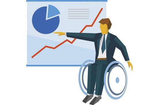 Disabled businessman in wheelchair show the poster with charts. Business concept - presentation, speech, annual report. Flat style vector clip art.