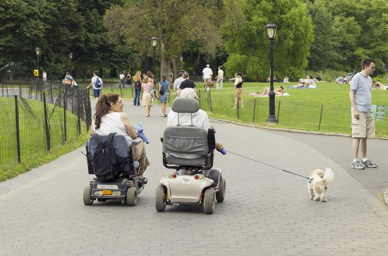 New York City, USA - August 7, 2005: Disabled couple in scooters walking their dog in Central Park on a summer day