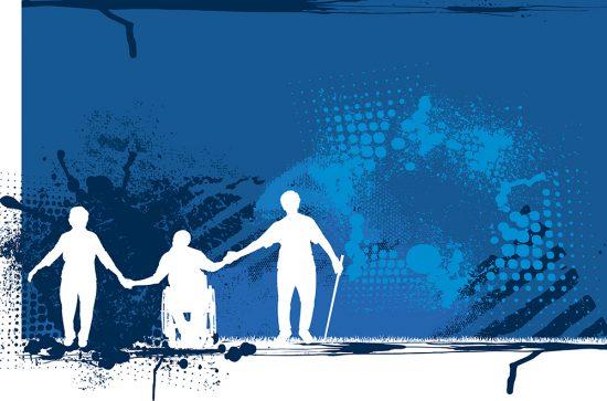 Silhouette grunge background illustration of three seniors.