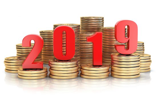 2019 New year on coins stack. Business success, prosperity and wallfare in new year concept. 3d illustration