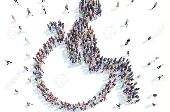 Large group of people in the form of a disabled person. Isolated, white background.
